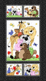 Color Me Children's Fabric Panel jungle animals measures 24 x 42 inches