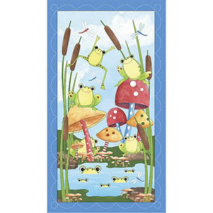 It's A Pond Party children's fabric panel 24 x 44 inches featuring frogs having a pond party