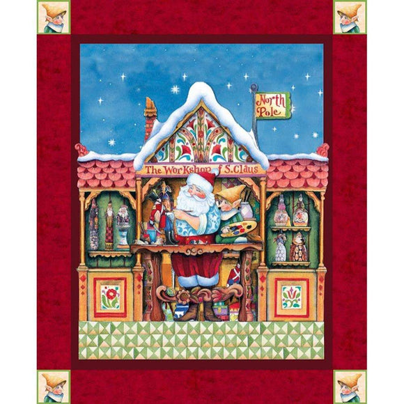 Jim Shore's Santa's Workshop Christmas Cotton Panel colors of red green gold white measures 36 x 44 inches
