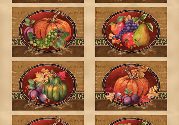 THANKSGIVING FABRIC, Thankful Harvest Placemats Panel by Wilmington Prints 100% Cotton
