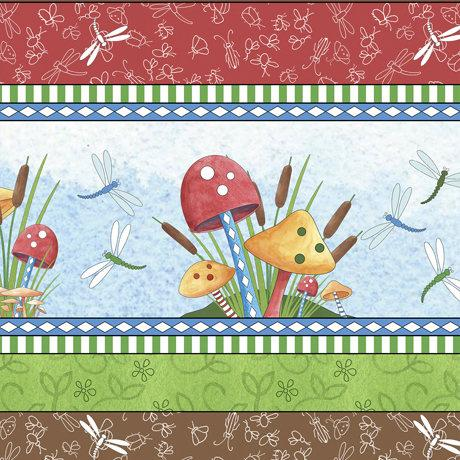 It's A Pond Childrens Vertical Stripe Cotton Fabric with mushrooms dragonfly's and pussy willows in bright primary colors.