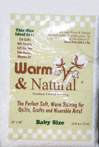 Warm and Natural Cotton Batting 45 x 60 Prepackaged