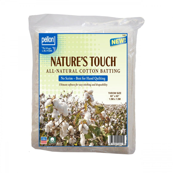 PELLON BATTING, Natures Touch 100% Natural Cotton Batting Throw-Sized 60in x 60in
