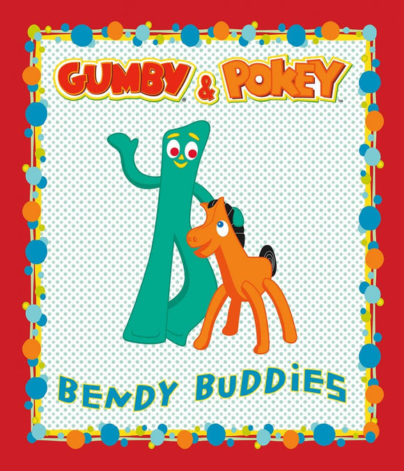 Gumby and Pokey Children' Cotton Panel 36 x 44 inches from Riley Blake Designs colors in red turquoise brown and black.