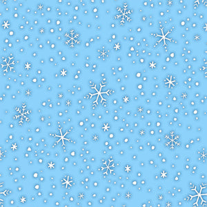 North Pole Greetins Christmas Holiday Cotton Flannel Fabric 44 inches wide blue background with white snowflakes