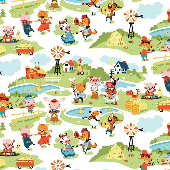 Harmony Farms Children's Farm Cotton Fabric Print from Riley Blake.  Farm animal fabric in blue green yellow red 44 inches wide.