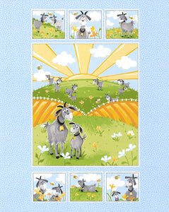 Hildy The Goat Children's Fabric Panel to sew 36 x 44 inches.  Colors of blue yellow gold gray green and white.