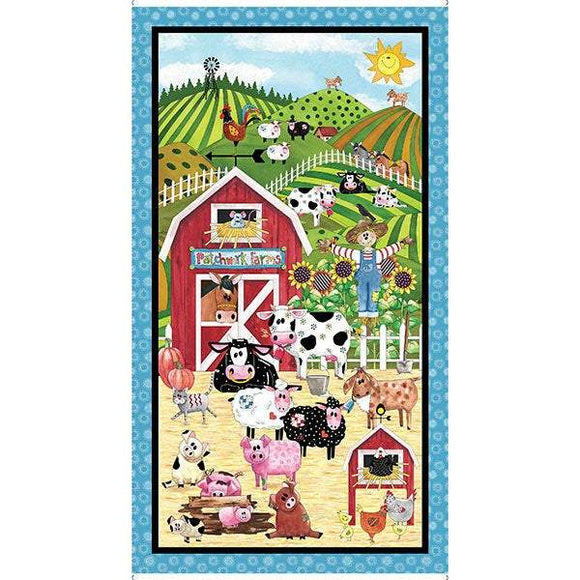 PATCHWORK FARM FABRIC Panel, Children's Cotton Panel 24 x 44 inches by Desiree's Designs