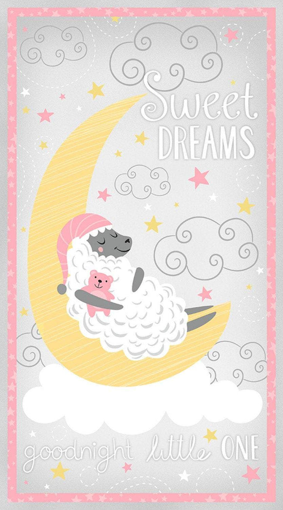 One Sheep Two Sheep Fabric Cotton Fabric Panel In Colors Of Pink Yellow And White 24 x 43 Inches