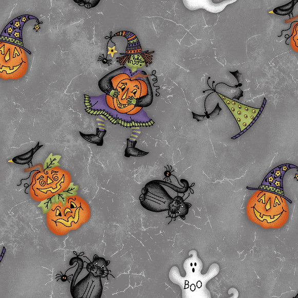 Halloweenies Gray Halloween print from Maywood Studios 44 inches wide in colors of gray black orange and white with pumpkins witches and ghosts.