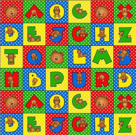 Children's Alphabet Fabric Alpha Bears Cotton