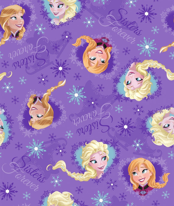 Disney Frozen children's fabric featuring framed pictures of Ana and Elsa in shades of purple blue and gold 43 inches wide