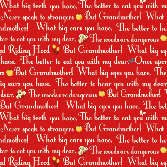 Little Red Riding Hood Children's Classic Story Cotton Fabric 44 InchesWide by WINDHAM In Colors of Red and White that tells the story