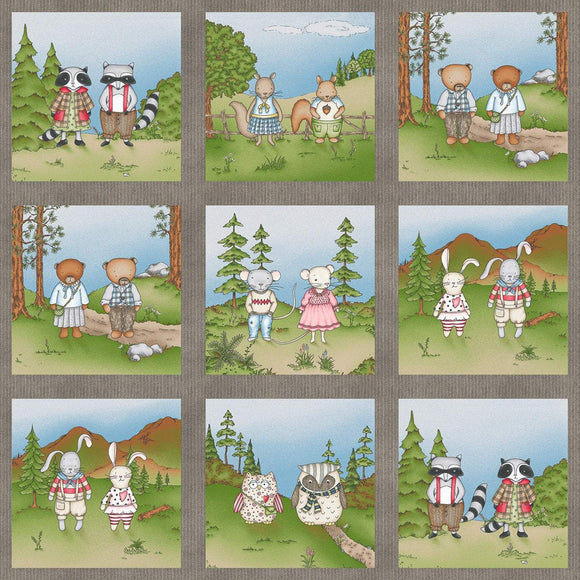 Forest Friends Children's Fabric Panel 24 x 42 inches from Maywood Studios forest animals in colors of blue green blue white brown