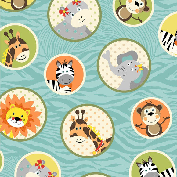 Bungle Jungle Children's Cotton Fabric Blue Background with Jungle Animals Multi Colored In Circles