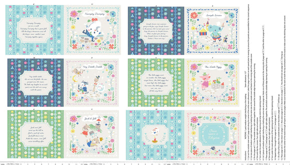 Once Upon A Rhyme Children's Cotton Cloth Book Panel To Sew from Jill Howarth for Riley Blake Designs. Colors of pink blue green white and yellow
