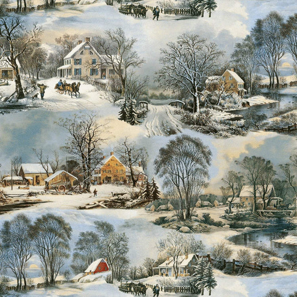 On Frozen Pond Holiday Fabric Victorian Winter Scene On Cotton Fabric.  Colors of Blue Green White Brown.