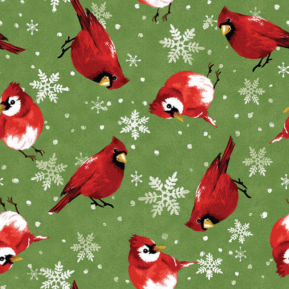 Christmas Cardinal Holiday cotton fabric 44 inches wide.  Green background with red white and black cardinals.