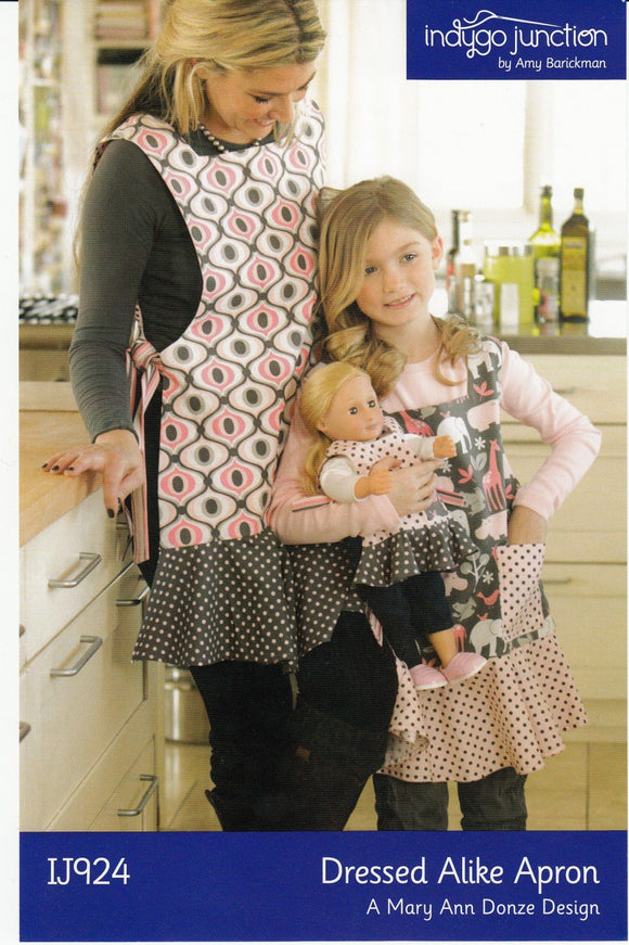 Dressed Alike Mother Daughter and Dolly Apron sewing pattern from Indygo Junction
