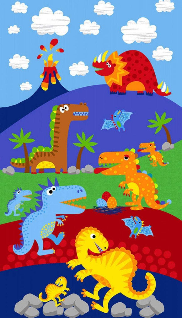 Dino Parade Children's Cotton Panel 24 x 44 Inches from Timeless Treasures assorted dinosaurs in primary colors red blue green orange and yellow