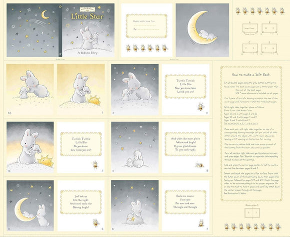Yellow Little Star Children's Cloth Book Panel To Sew From Timeless Treasures Sweet Baby Story Shades of Yellow White Gray Cotton
