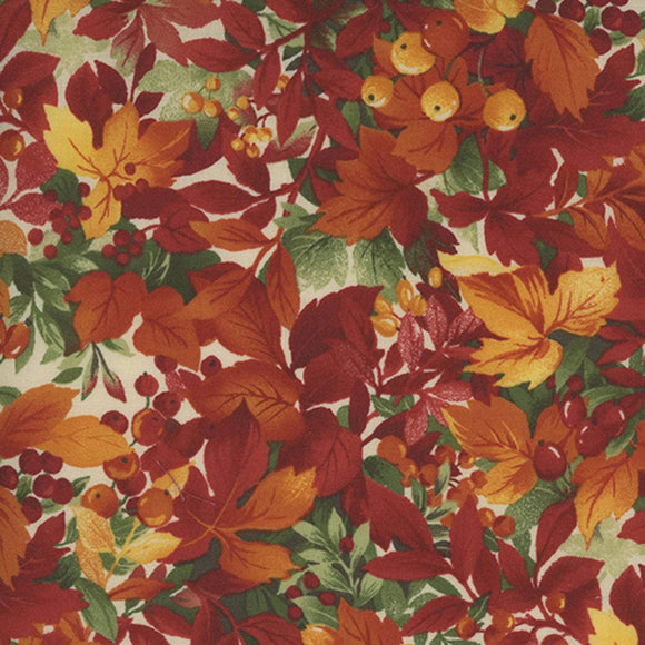 Leaves and Berries Fall cotton fabric from Maywood Studios in colors of rust green and gold