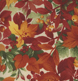 Leaves and Berries Cotton Autumn cotton fabric in rust green an gold
