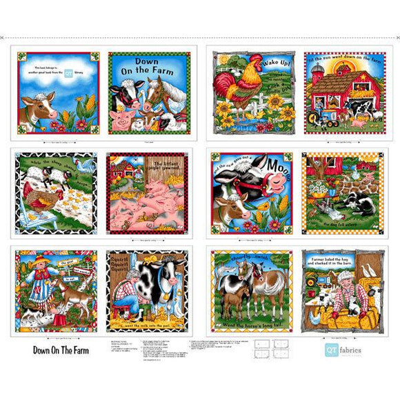 Down On The Farm Children's Cotton Cloth Book Panel featuring fun farm animals