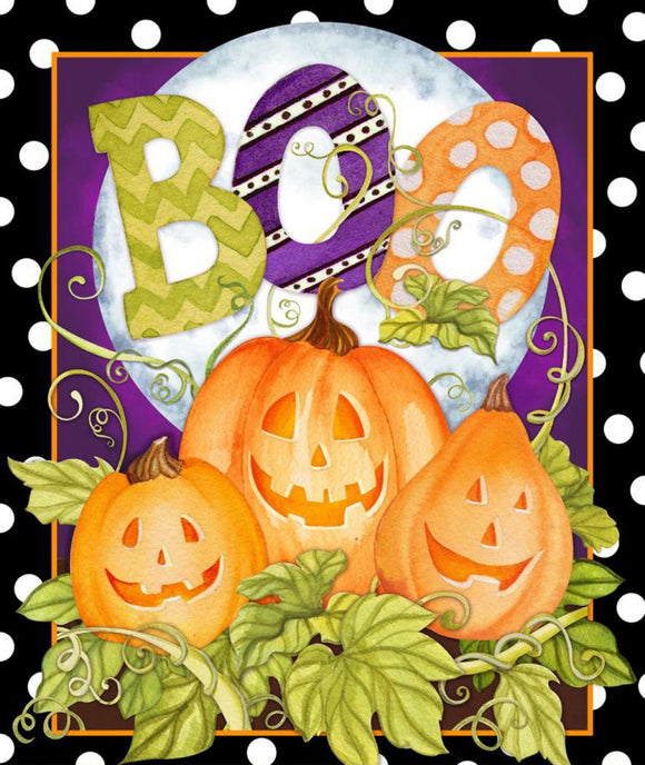 Halloween Fabric Cotton Panel 43 x 44 inches bright orange pumpkins green leaves and heading of Boo