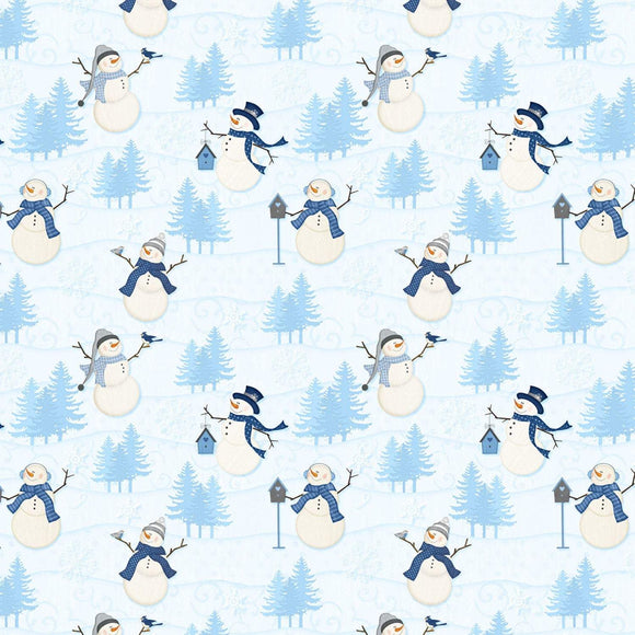 Christmas Holiday Welcome Winter Snowmen Cotton Fabric in shades of blue white and black