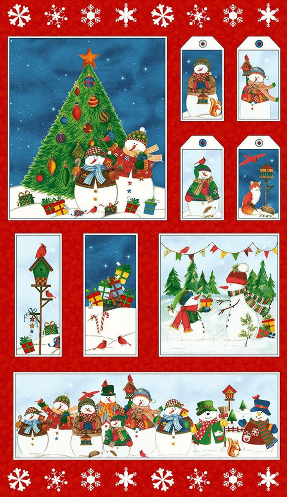 WINTER WISHES HOLIDAY COTTON QUILT PANEL, by Whistler Studio for Windham Fabrics 24 x 44 inches