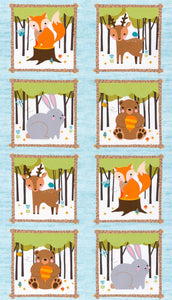 Woodland Hideaway Cotton Flannel Children's Fabric Panel Featuring Woodland Animals White Background With Brown Gold Green Colors