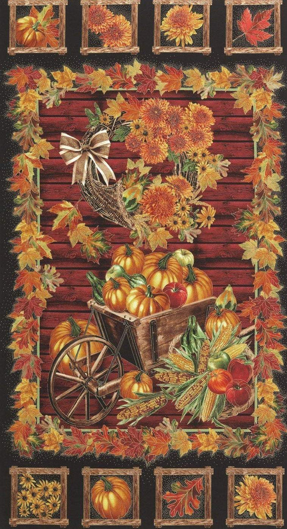 Fall Harvest Thanksgiving Holiday fabric panel 24 x 44 by Timeless Treasures.  Colors of rust gold yellow orange brown and black