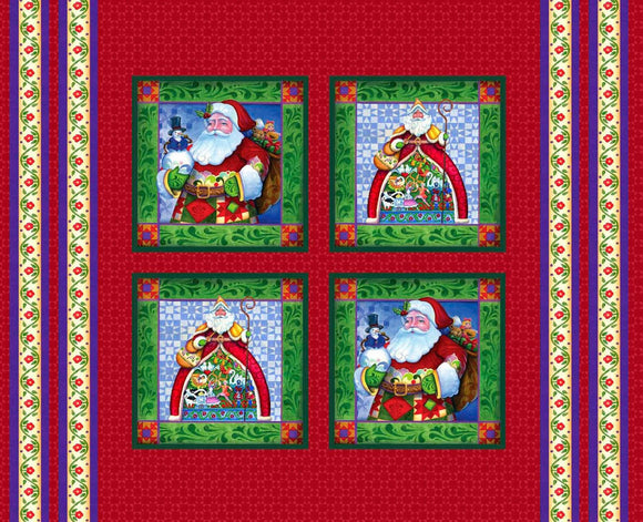 Jim Shore Christmas Pillow Panels showcasing Jim Shore style Santas 36x44 inches in traditional holiday colors.