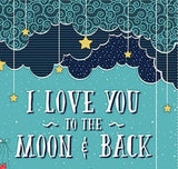 Moon and Back children's cloth panel to sew 24 x 44 inches in shades of blue gold green red gray and white