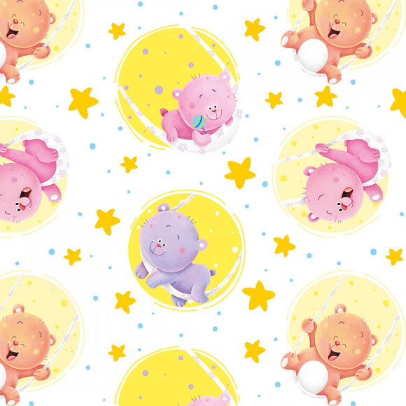Wish Upon A Star Multi Stars Tossed Cotton Flannel Fabric by Nidhi Wadhwa for Henry Glass