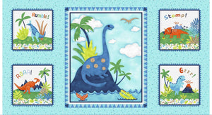 Hear Me Roar Children's Dinosaur cloth book panel to sew in colors of blue green white brown.