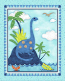 Hear Me Roar Children's Cloth Book Panel to sew.  Large blue Dinosaur sitting on top of a mountain looking down to the sea