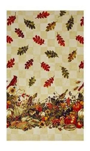 Bountiful Harvest Fabric Thanksgiving Cotton Print Fabric Cream, Rust, Green and Gold Colors