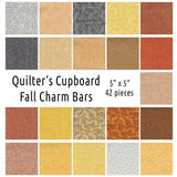 Qulter's Sweet Shop Fall Charm Bar 5 inch square cotton autumn colored fabric
