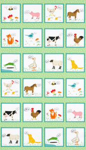 What Do The Animals Say Cotton Children's Fabric Panels Farm Animals 24 x 44 inches
