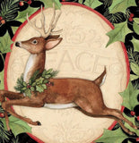 Christmas Woodland Deer Holiday Fabric Panel 36 x 44 inches by Springs Creative colors of red green black white and brown