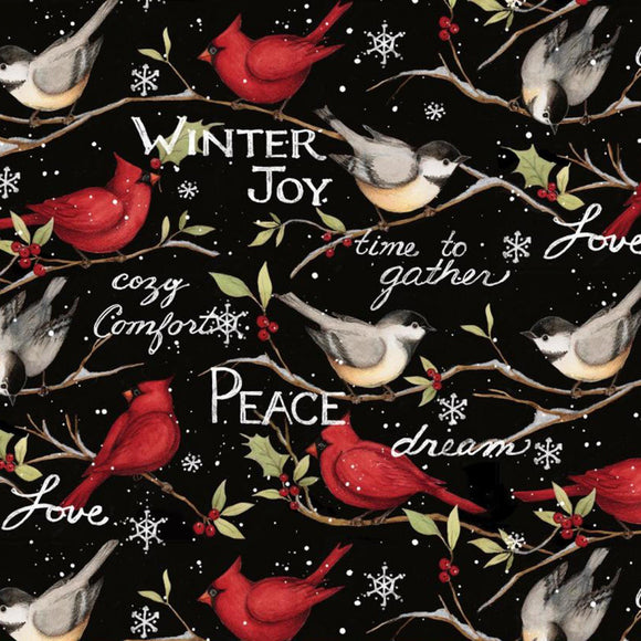 Christmas Winter Snowbirds holiday cotton fabric 44 inches wide by Springs Creative.  Colors of red black white and green