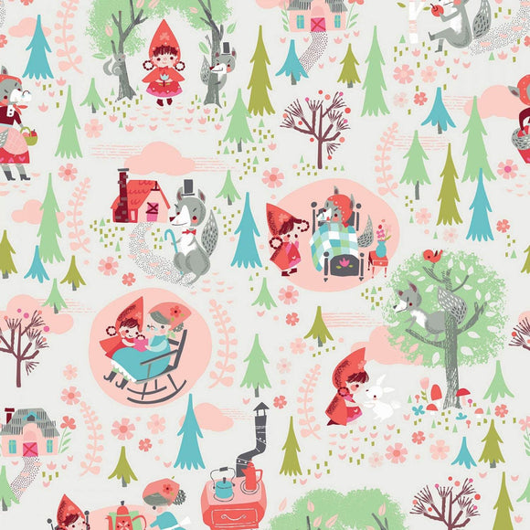 Little Red In The Woods children's cotton nursery rhyme fabric.  Little Rd walking in the woods to grandmas house showing the world in colors of red pink green brown green and blue