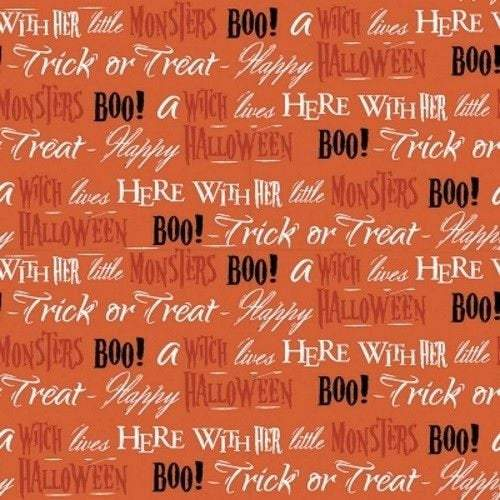 Boo Halloween Fabric Orange White and Black Cotton from Quilters Pallette