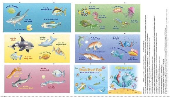 Pout Pout Children's Fish Alphabet Cloth Book Panel To Sew 12 Pages Bright Primary Colors