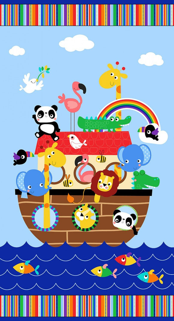 Noah's Ark Two By Two Children's Cotton Fabric Panel To Sew 24 x 44 Inches