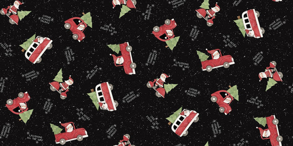 Christmas Fabric Santa Making Spirits Bright Cotton multi tossed Santas black red green and white