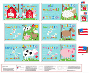 Old MacDonald Farm Soft Cloth Book Panel To Sew featuring all farm animals