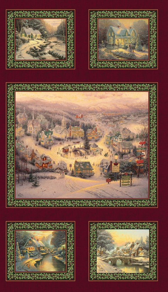The Spirit of Christmas Holiday Fabric Panel from Thomas Kincade Collection 24 x 43 inches.